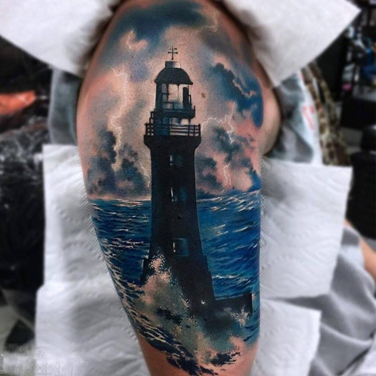 Shoulder-Realistic-Lighthouse-Tattoo-by-Bolo-Art