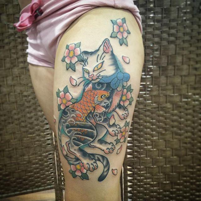 cat Jamie Negro at Behardcore Tattoo