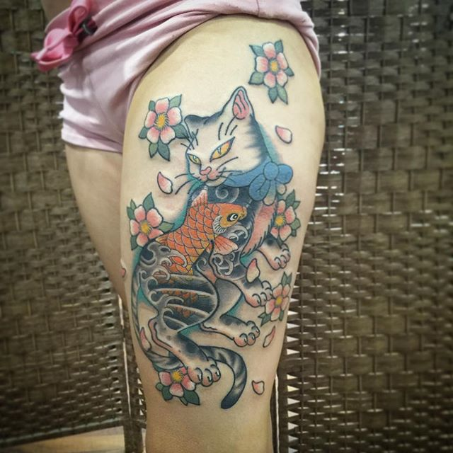 cat Jamie Negro at Behardcore Tattoo