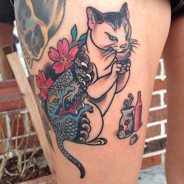 cat Sarah Baldwin at Control Tattoo in Florida
