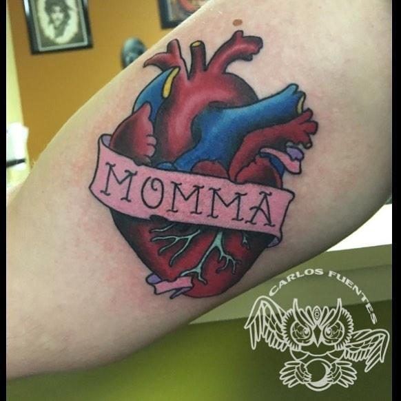 mom by Carlos Fuentes at Mystic Owl Tattoo in GA