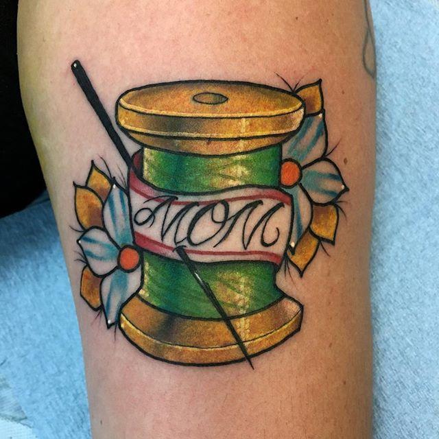 Mom David Klingenfuss at PMA Tattoo studio in CA.