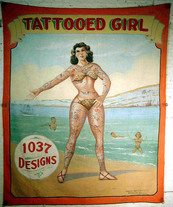 tattoo sideshow banner by Fred G. Johnson