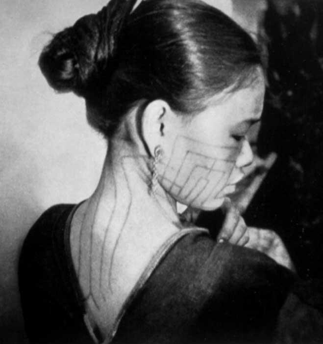 Li geometric tattoos of a Basaadung Li woman from 1930