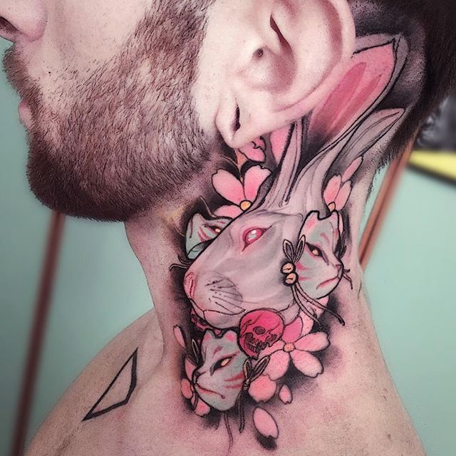 bunny and skull neck piece