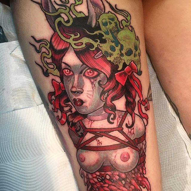 Wes Harrison Black Wren tattoo , Bendigo . Devils ink tattoo , Melbourne