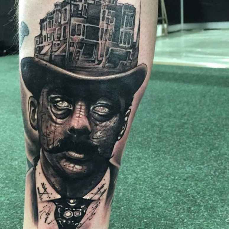 Anrijs Straume Bold as Brass tattoo (H.H. Holmes)